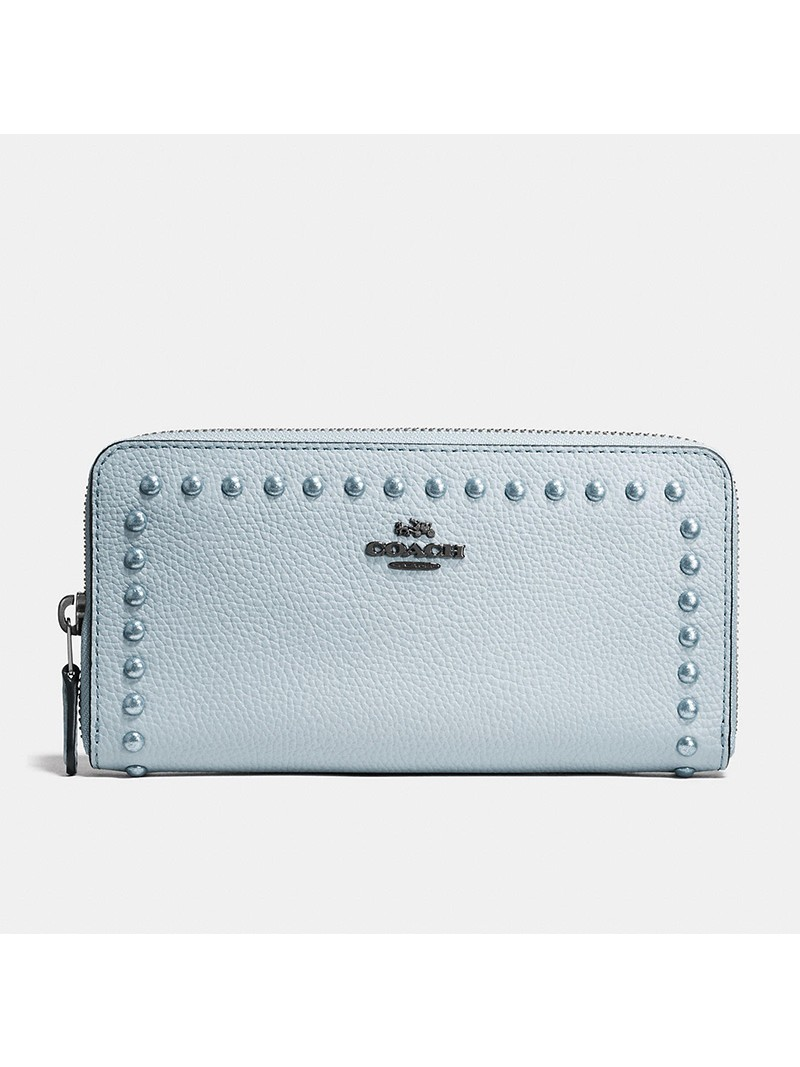 Coach Accordion Zip Wallet with Lacquer Rivets in Pebble Leather Sky Blue