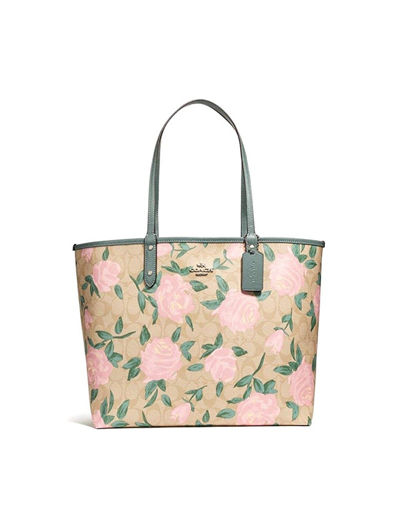 Coach City Reversible Tote with Camo Rose Floral Print In Signature Canvas Beige