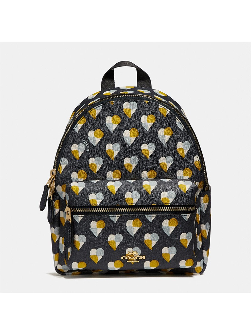 Coach Mini Charlie Backpack with Checker Heart Print in Signature Canvas Black