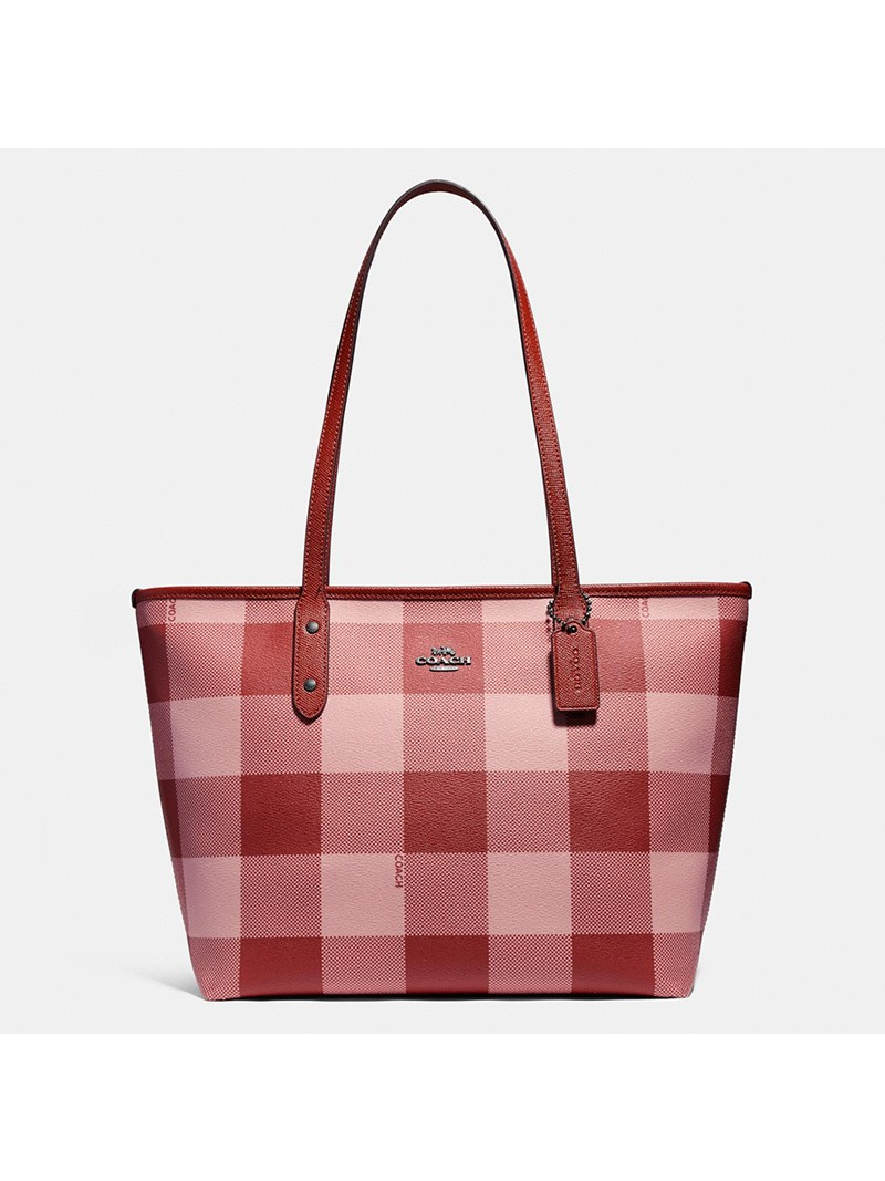 Coach City Tote with Buffalo Plaid Print in Canvas Pink