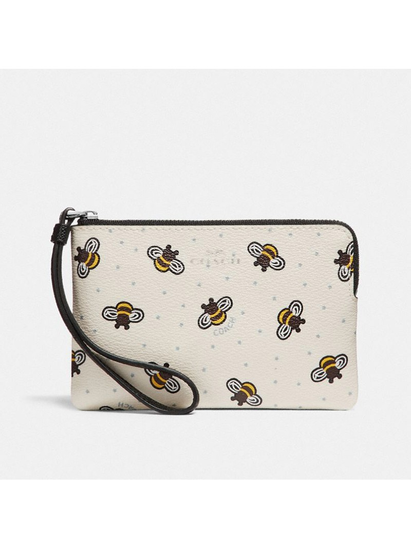 Coach Corner Zip Wristlet with Bee Print in Coated Canvas White