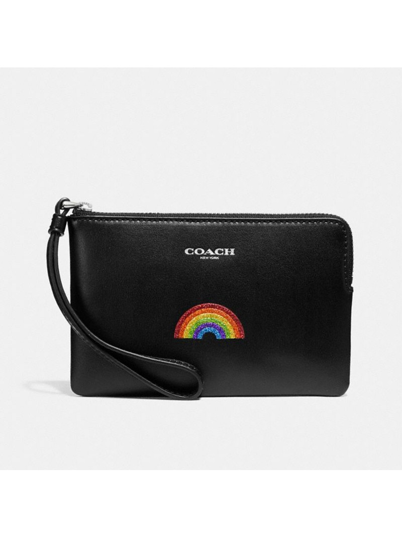 Coach Corner Zip Wristlet with Rainbow in Smooth Leather Black