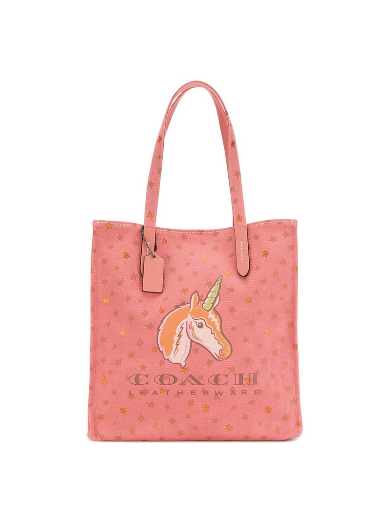 Coach Shopper Tote with Unicorn Motif in Canvas Pink