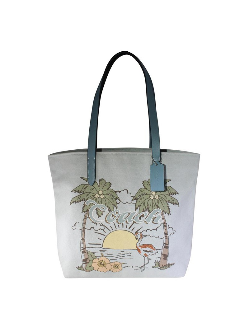 Coach Summer Tote with Aloha Flamingo in Canvas Sky Blue
