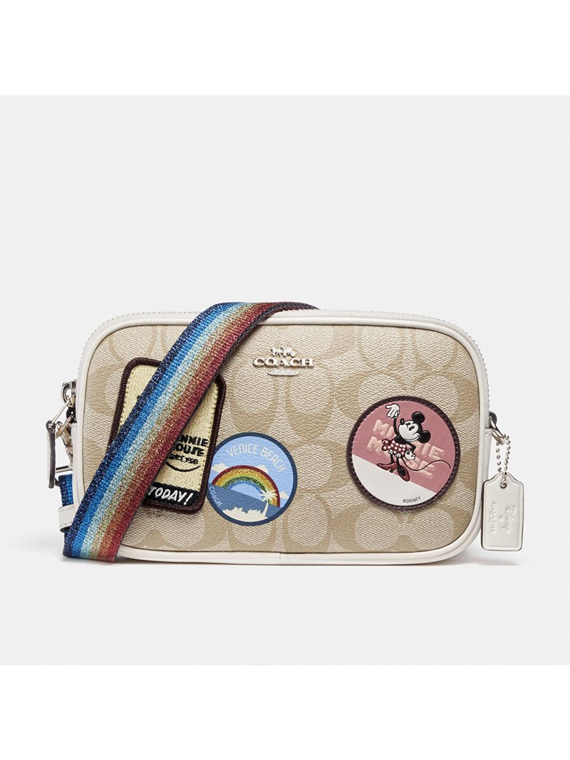 Disney x Coach Crossbody Pouch with Minnie Mouse Patches in Signature Canvas Apricot