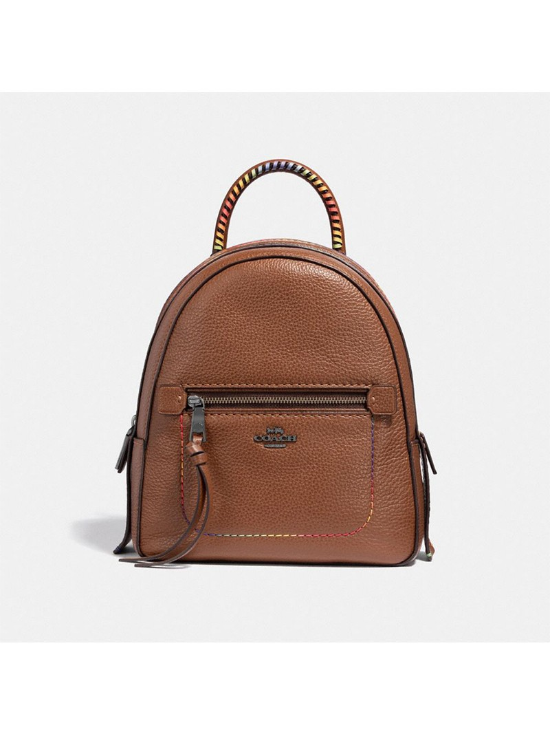 Coach Andi Backpack with Rainbow Stitching in Pebble Leather Brown