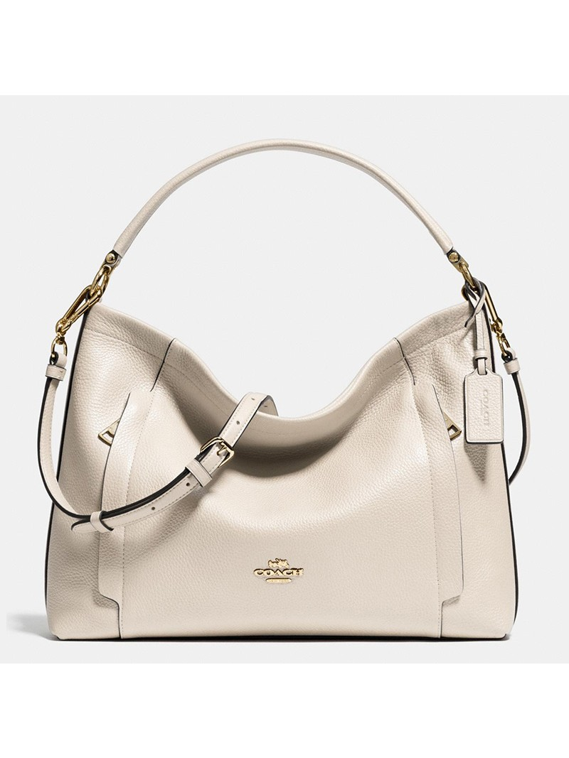 Coach Scout Hobo In Pebble Leather White
