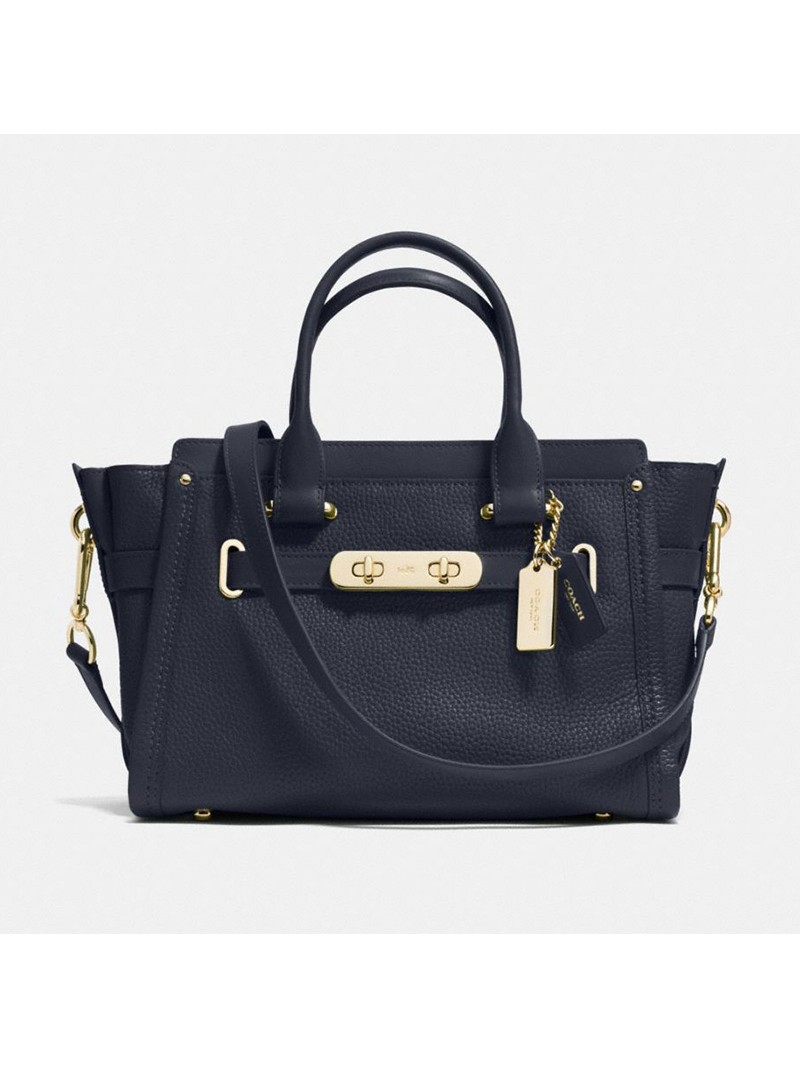 Coach Swagger Carryall 27 In Pebble Leather Navy Blue