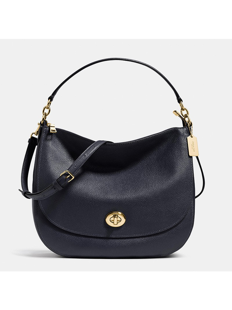 Coach Turnlock Hobo In Pebble Leather Navy Blue