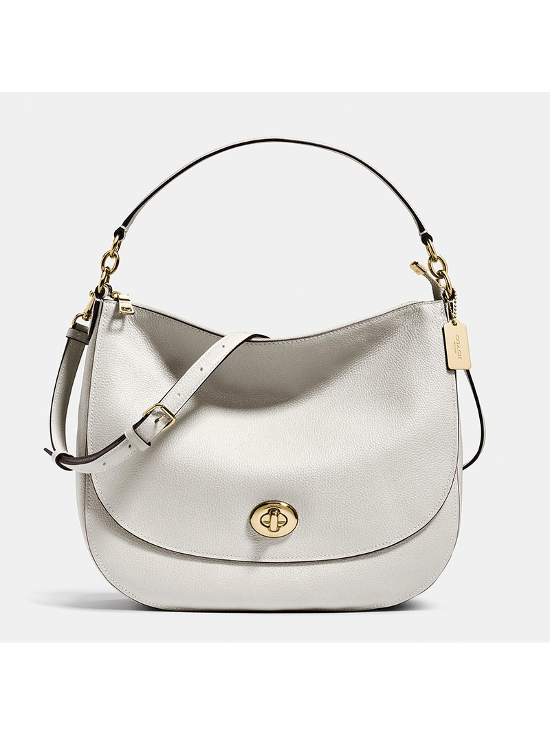 Coach Turnlock Hobo In Pebble Leather White