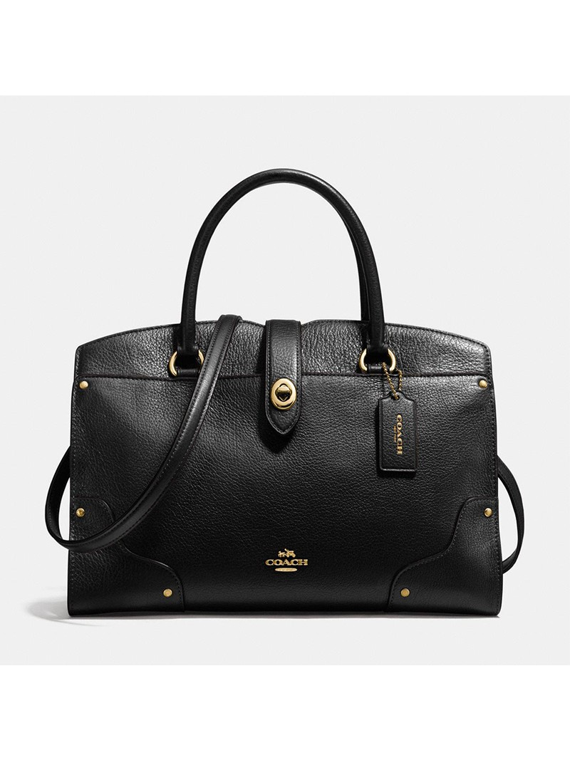 Coach Mercer Satchel 30 in Grain Leather Black