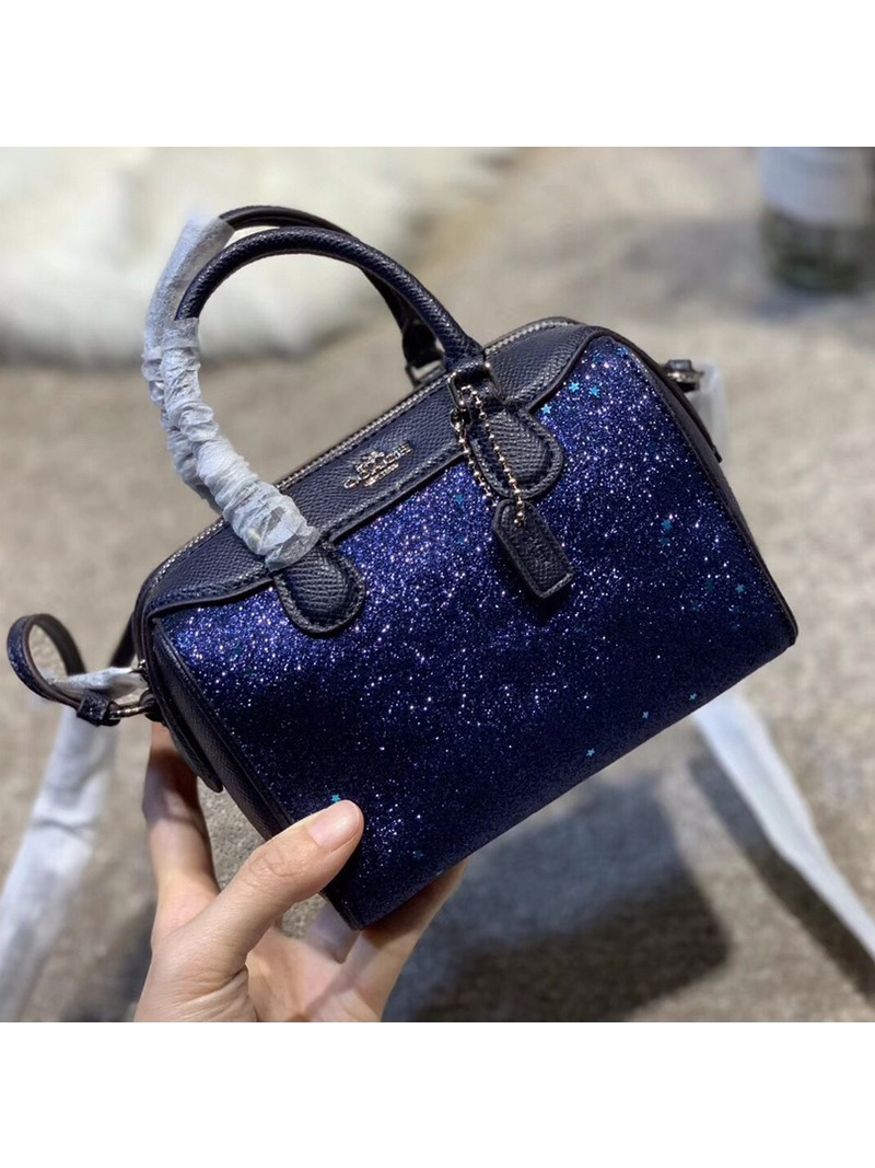 Coach Micro Bennett Boston Bag with Star Glitter in Crossgrain Leather Blue Outlet Coach Bags