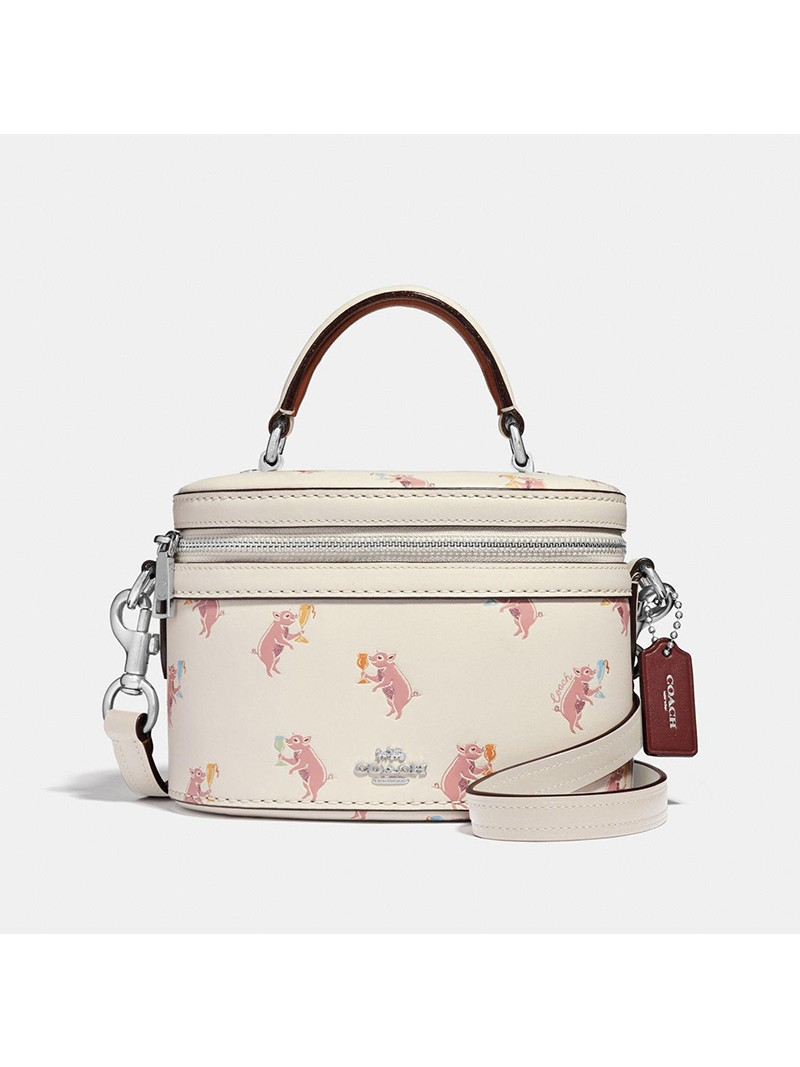 Selena Gomez x Coach Trail Bag with Party Pig Print In Refined Leather White