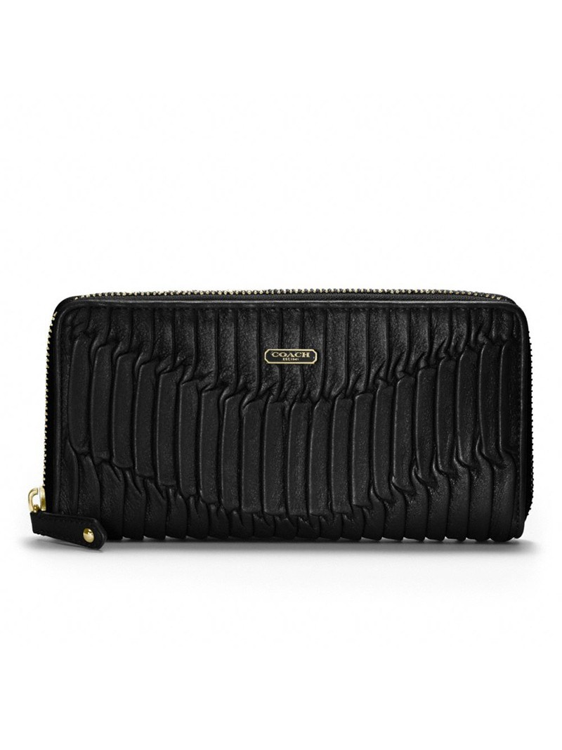 Coach Accordion Zip Wallet in Madison Gathered Leather Black