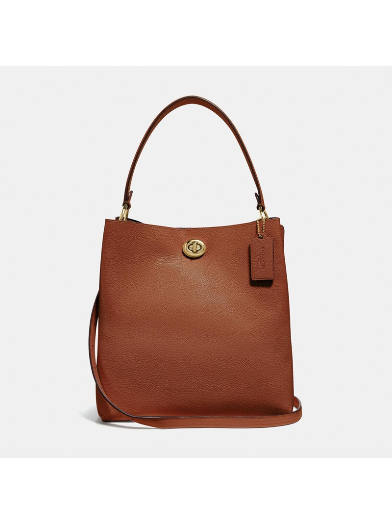 Coach Charlie Bucket Bag in Pebble Leather Brown