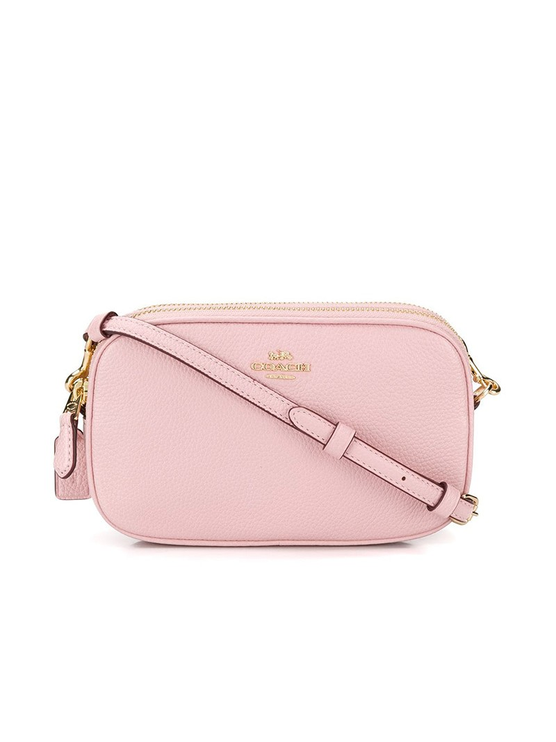 Coach Crossbody Pouch in Pebble Leather Pink