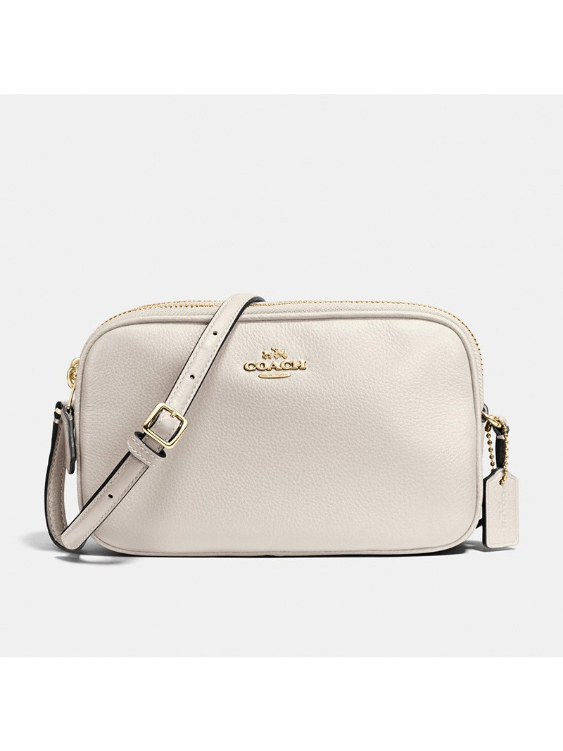 Coach Crossbody Pouch in Pebble Leather White