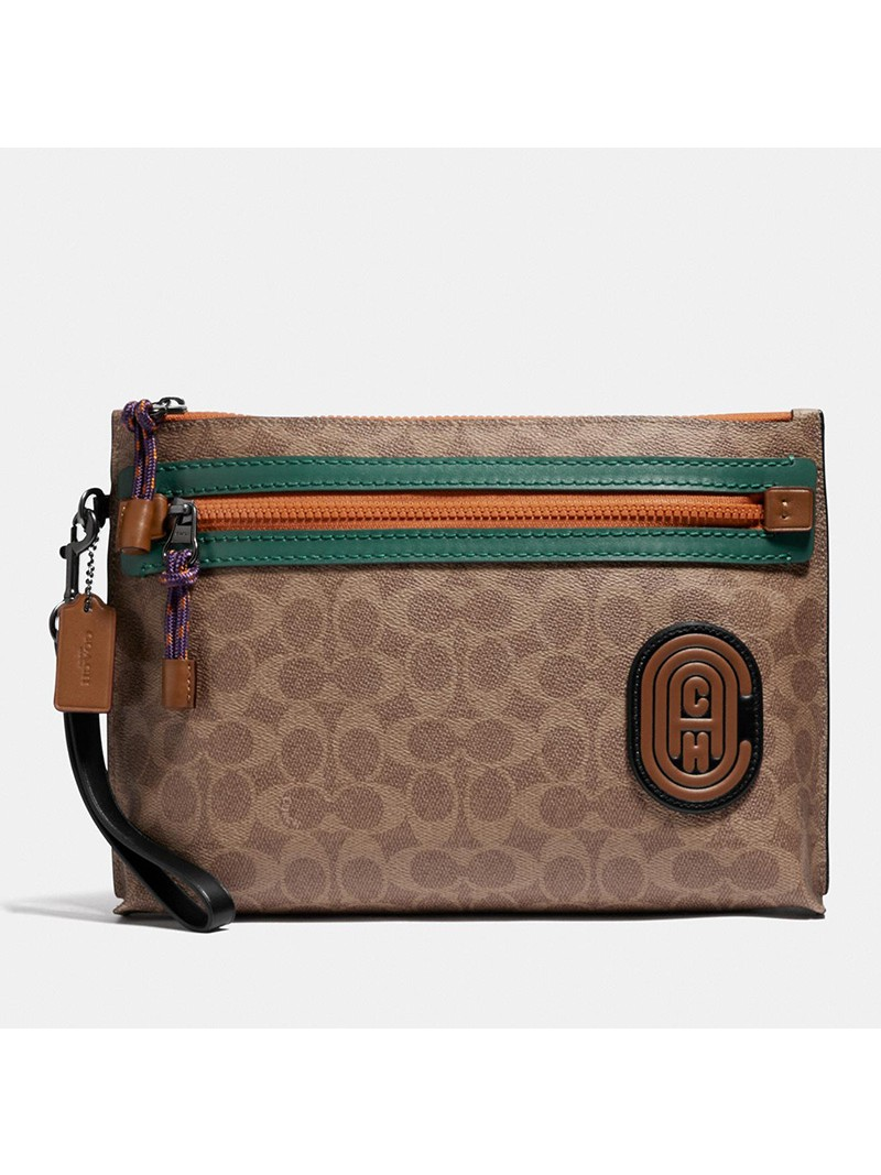 Coach Academy Pouch with Patch in Signature Canvas Khaki