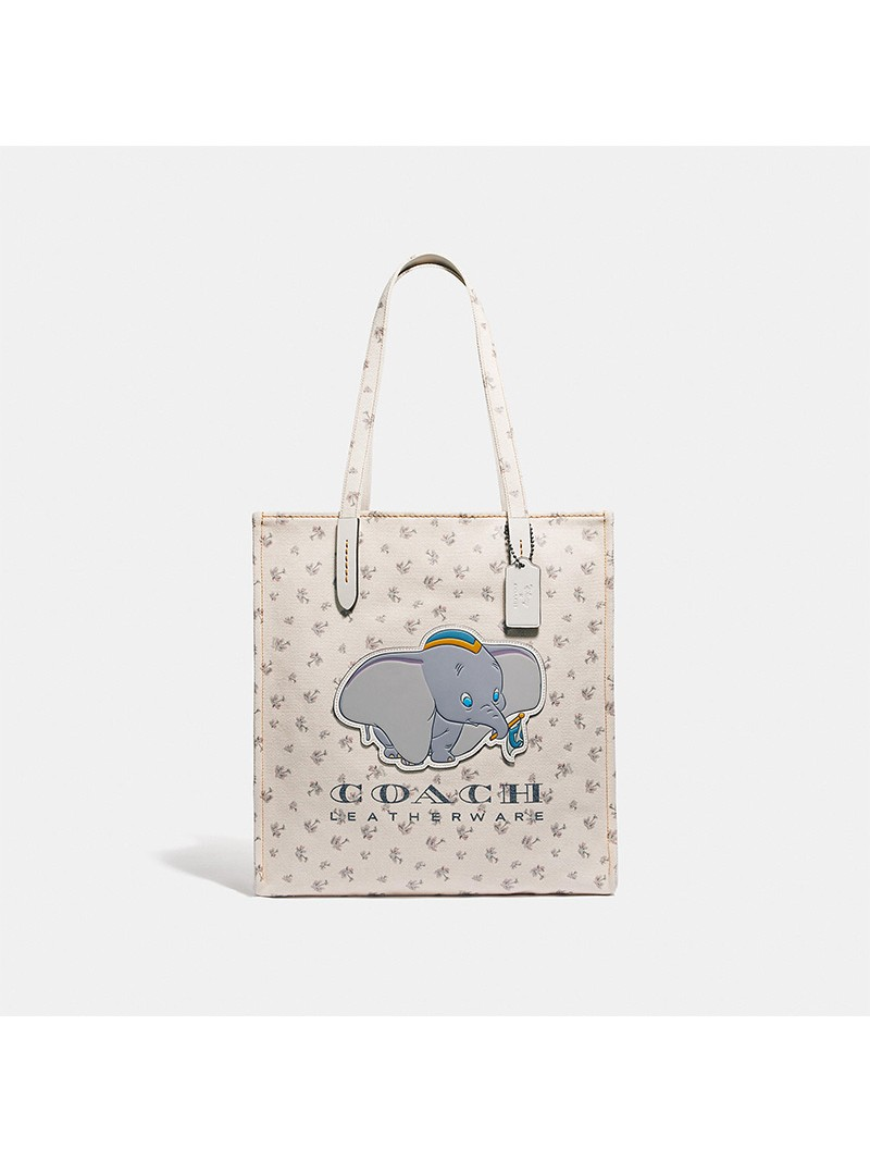 Disney x Coach Tote with Dumbo In Canvas White