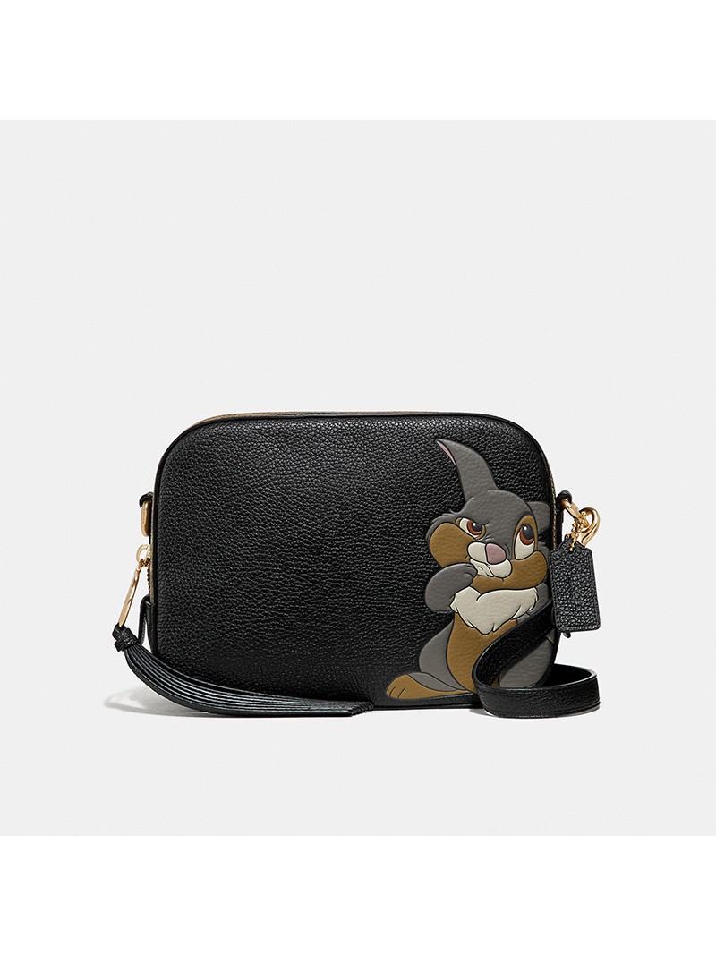 Disney x Coach Camera Bag with Thumper In Pebble Leather Black