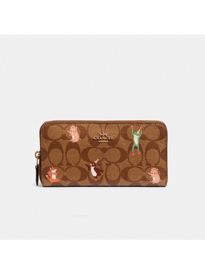 Coach Accordion Zip Wallet In Signature Canvas With Party Animals Print Khaki