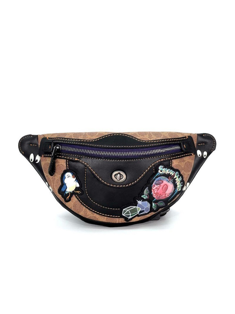 Disney x Coach Belt Bag with Patches in Signature Canvas Khaki