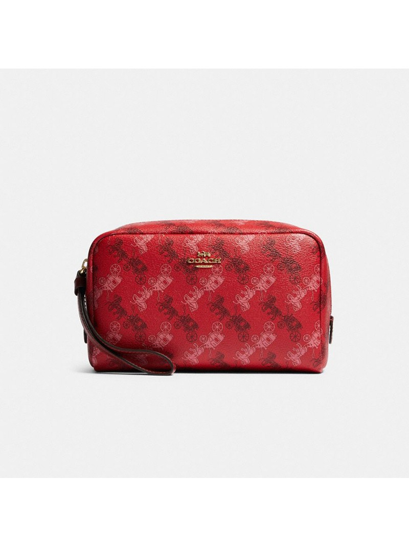 Coach Boxy Cosmetic Case With Horse And Carriage Print Red