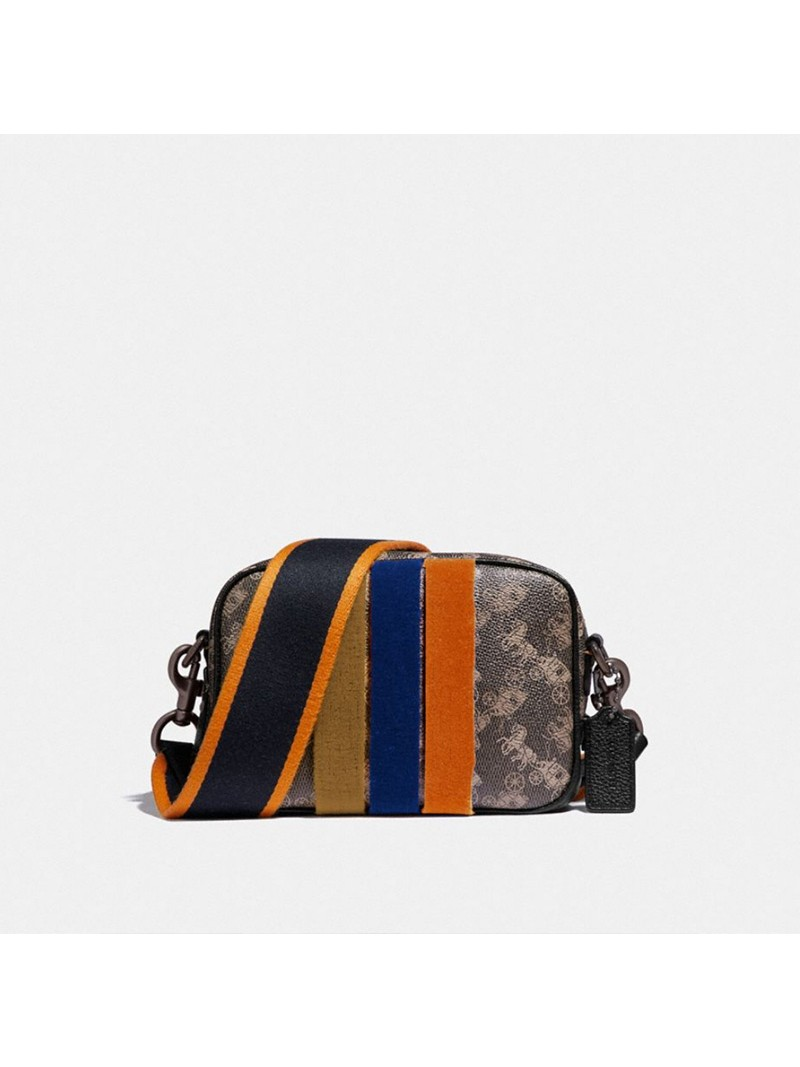 Coach Camera Bag 16 With Horse And Carriage Print And Varsity Stripe Black