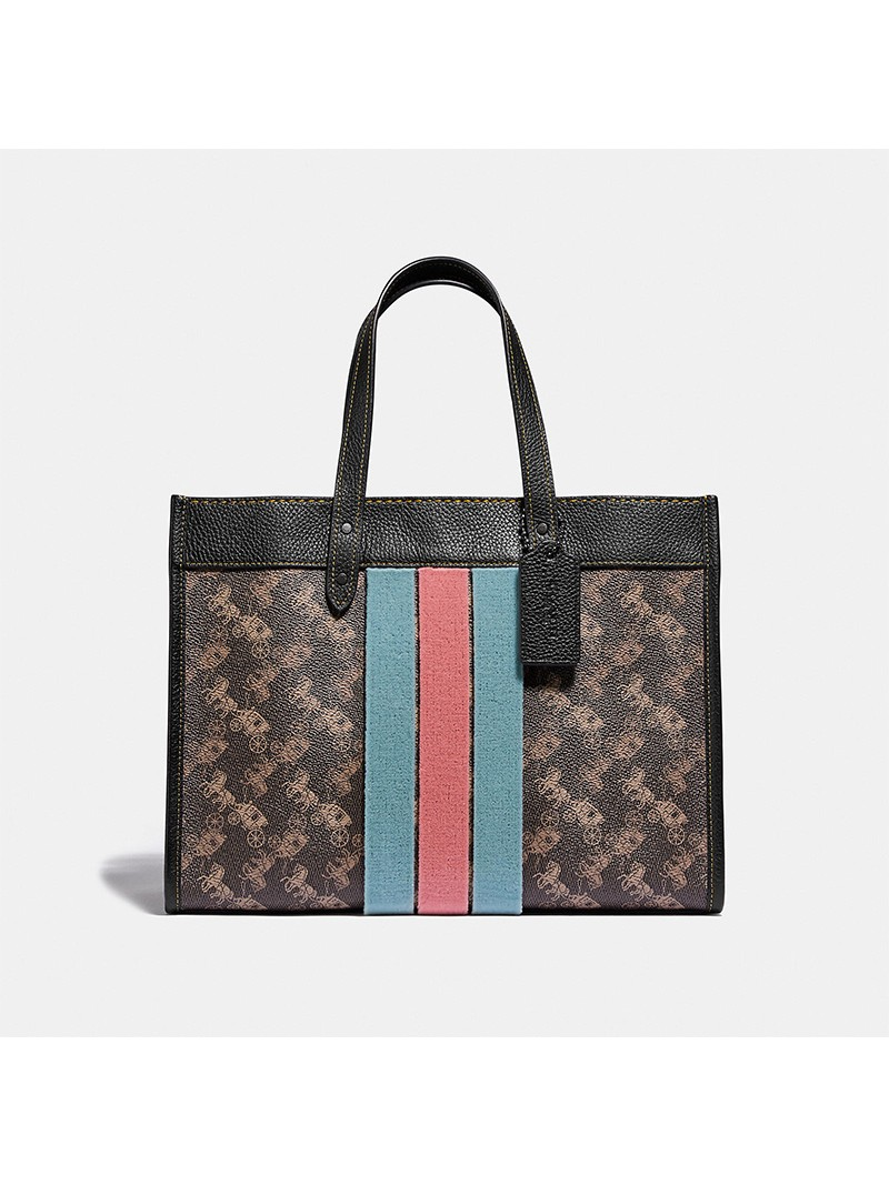 Coach Field Tote 30 With Horse And Carriage Print And Varsity Stripe Black/Brown