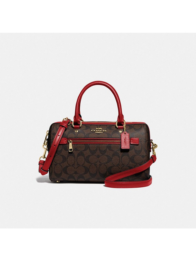 Coach Rowan Satchel In Signature Canvas Brown/Red