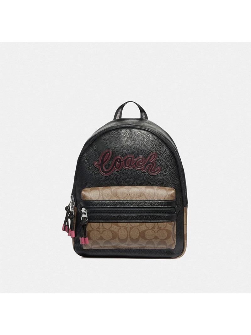 Coach Vale Backpack With Signature Canvas Detail Black