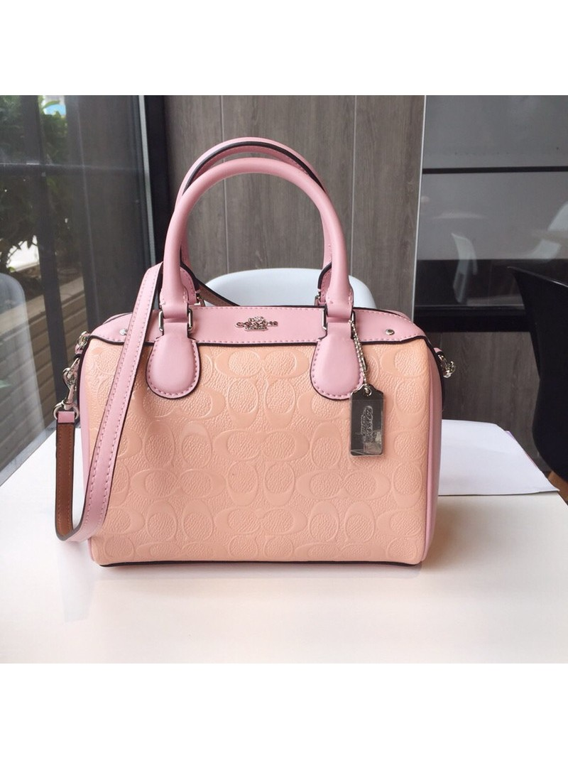 Coach Mini Bennett Boston Bag In Signature Leather Apricot
