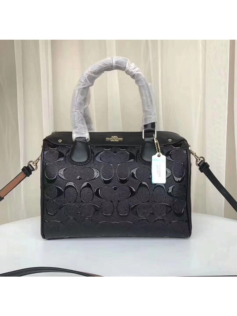 Coach Mini Bennett Boston Bag In Signature Leather Black