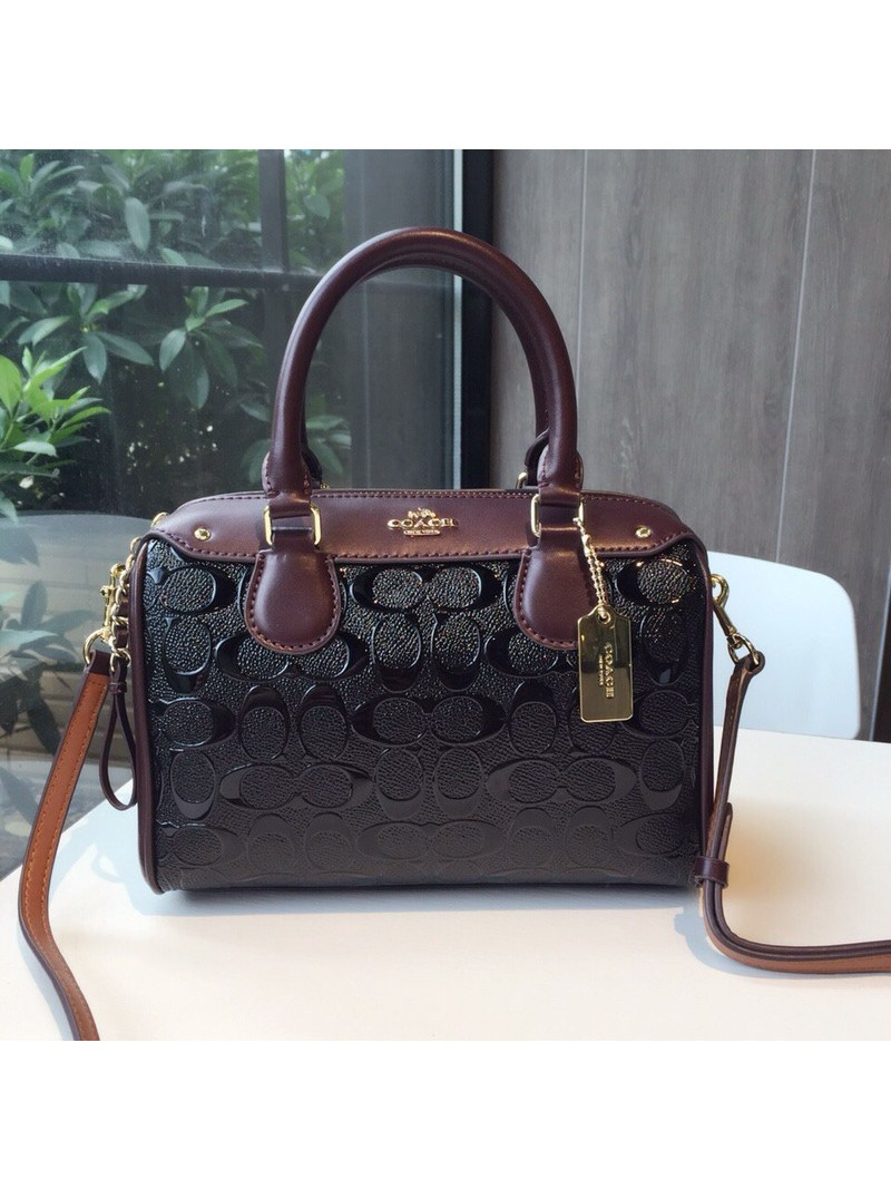 Coach Mini Bennett Boston Bag In Signature Leather Black/Coffee