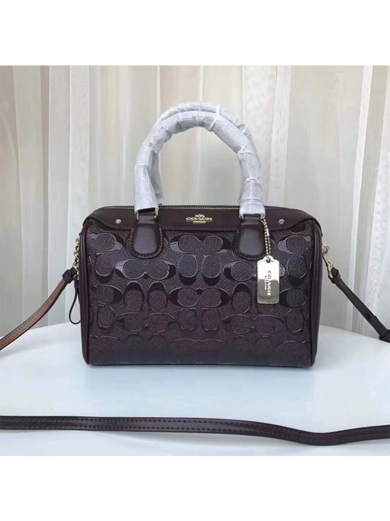 Coach Mini Bennett Boston Bag In Signature Leather Coffee