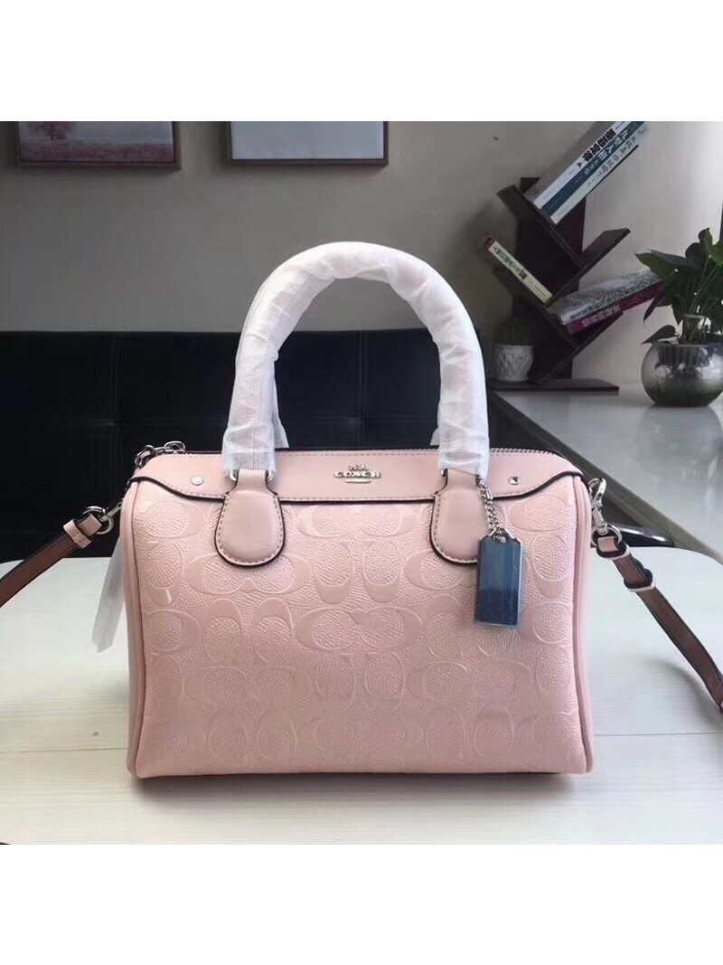 Coach Mini Bennett Boston Bag In Signature Leather Pink