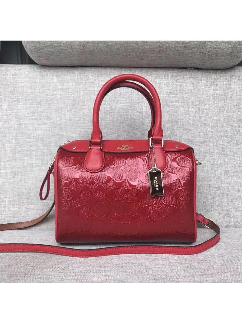 Coach Mini Bennett Boston Bag In Signature Leather Red