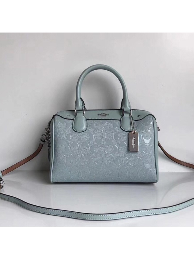 Coach Mini Bennett Boston Bag In Signature Leather Sky Blue