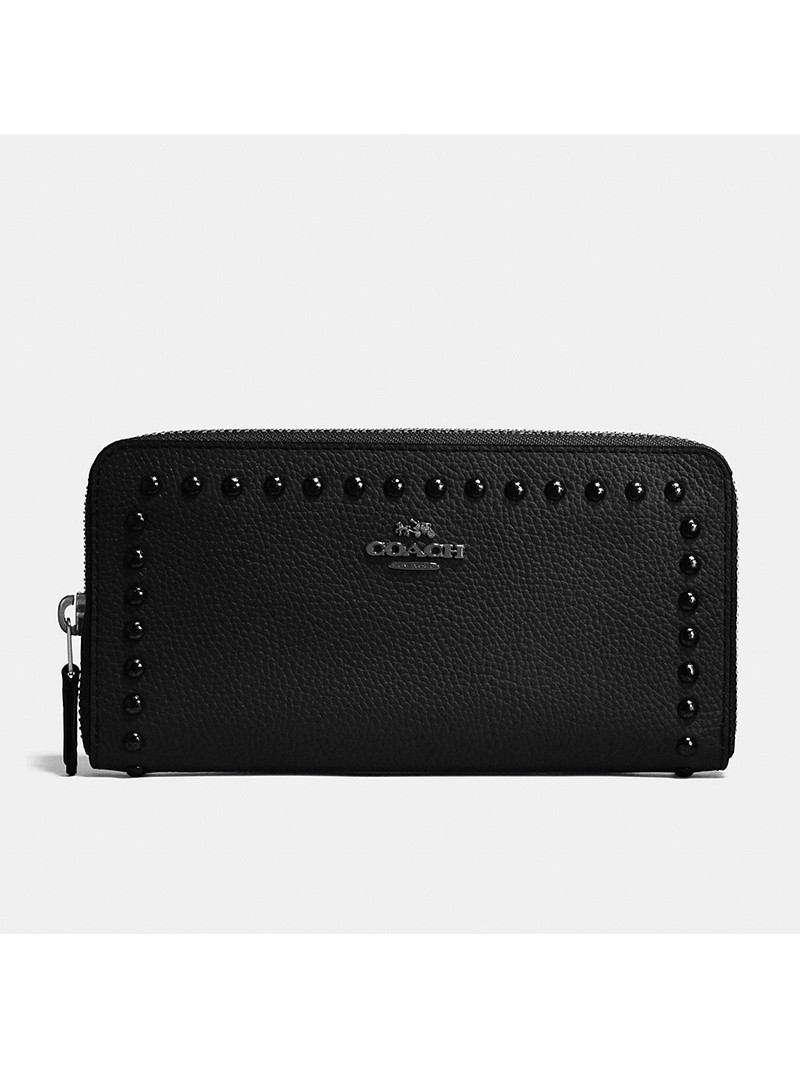 Coach Accordion Zip Wallet with Lacquer Rivets in Pebble Leather Black