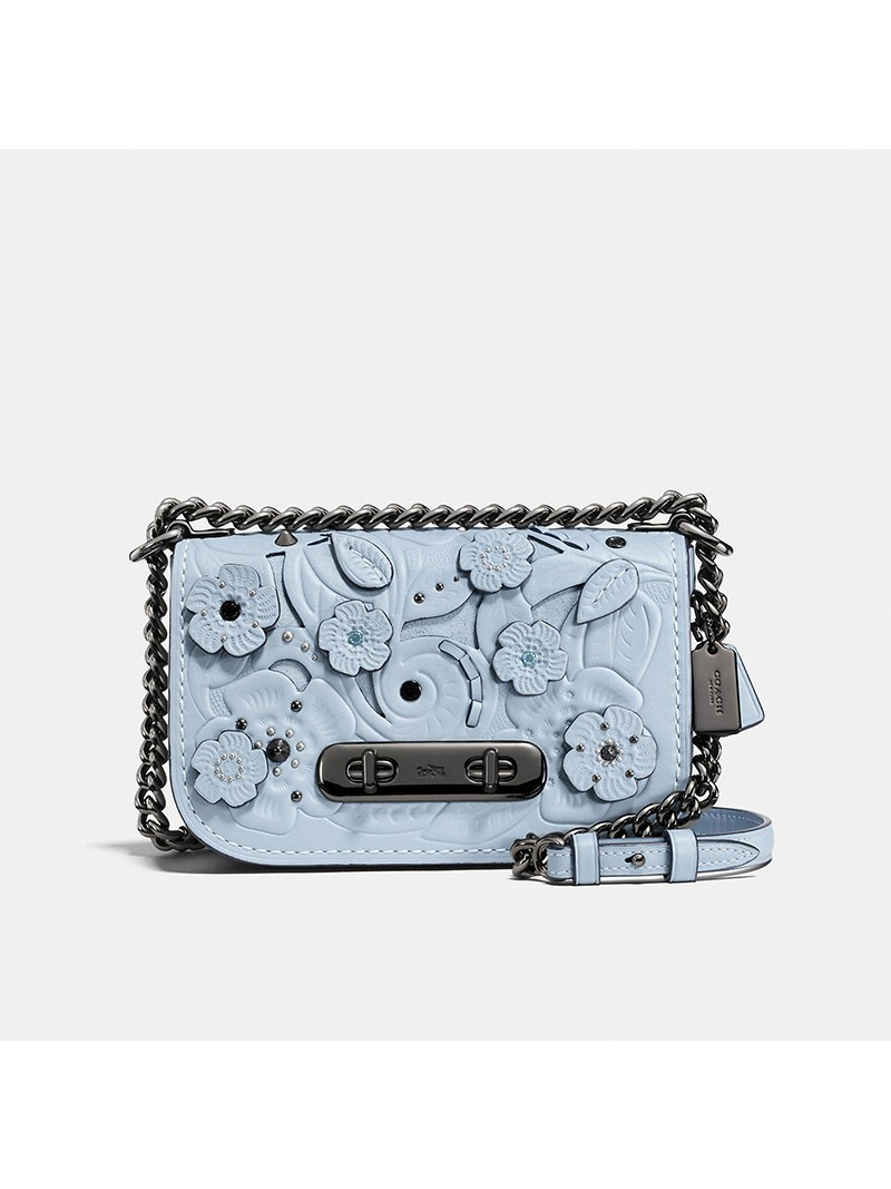 Coach Swagger Shoulder Bag 20 with Tea Rose Tooling in Glovetanned Leather Sky Blue