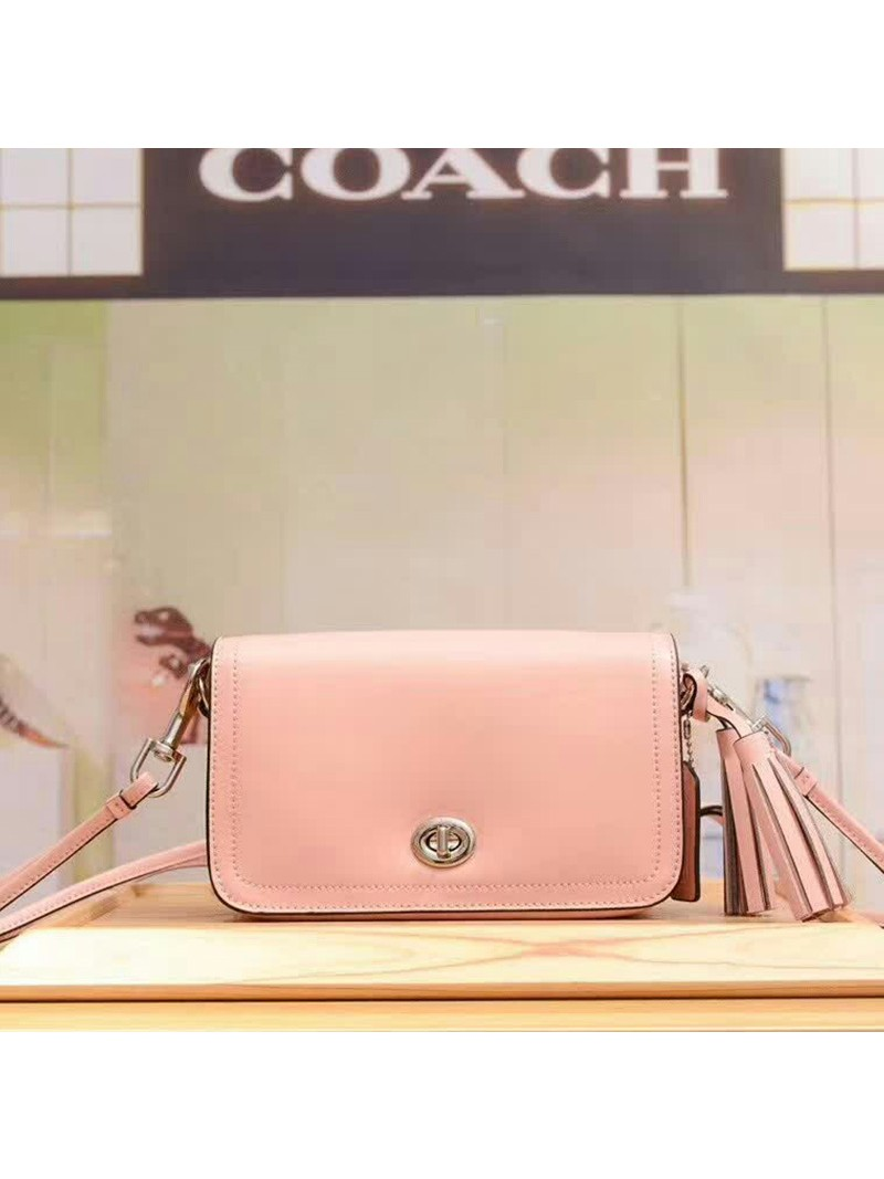 Coach Penny Shoulder Purse in Glovetanned Leather Cherry