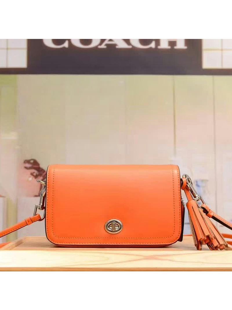 Coach Penny Shoulder Purse in Glovetanned Leather Orange