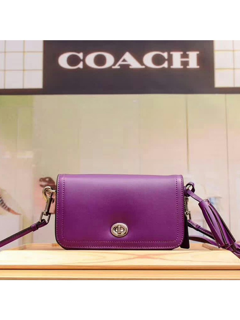 Coach Penny Shoulder Purse in Glovetanned Leather Purple