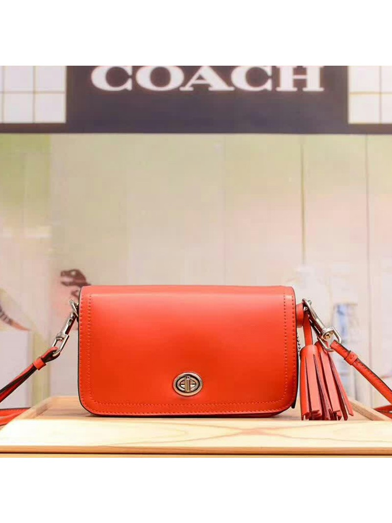 Coach Penny Shoulder Purse in Glovetanned Leather Red