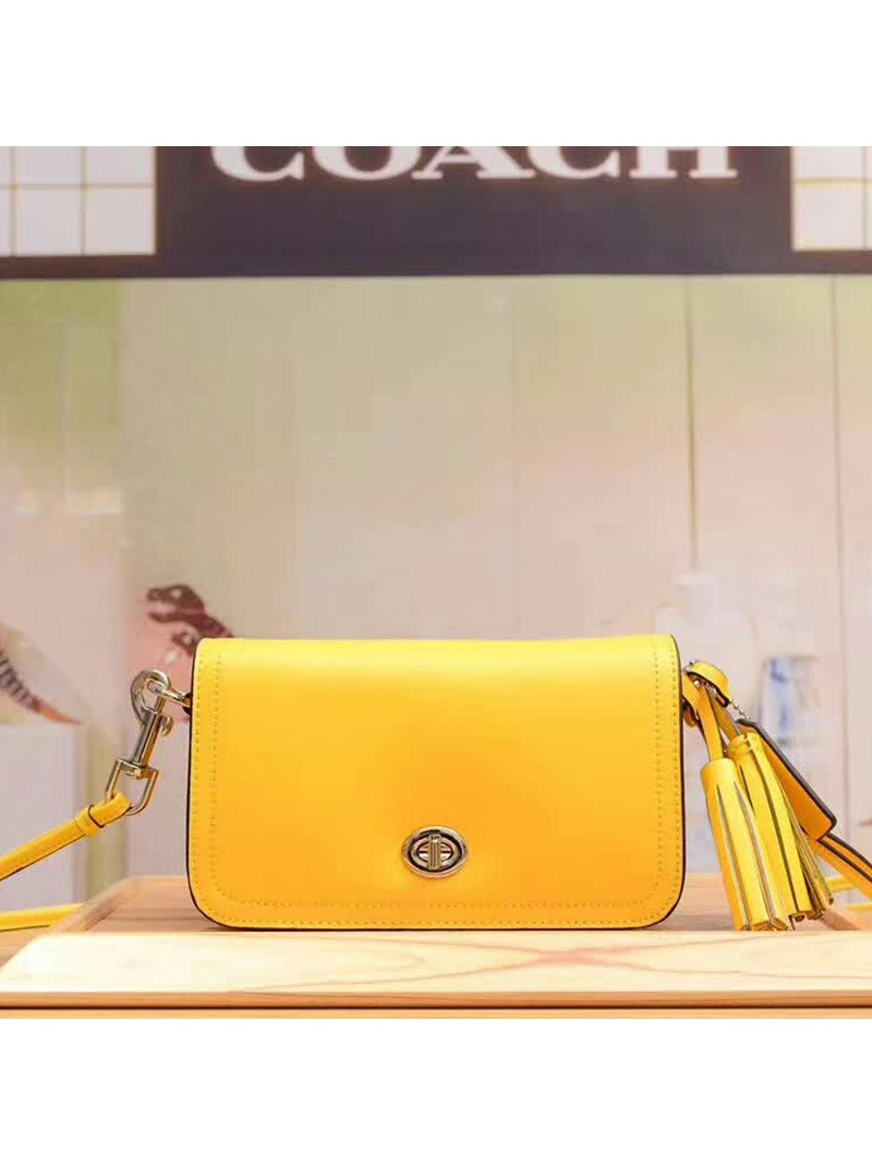Coach Penny Shoulder Purse in Glovetanned Leather Yellow