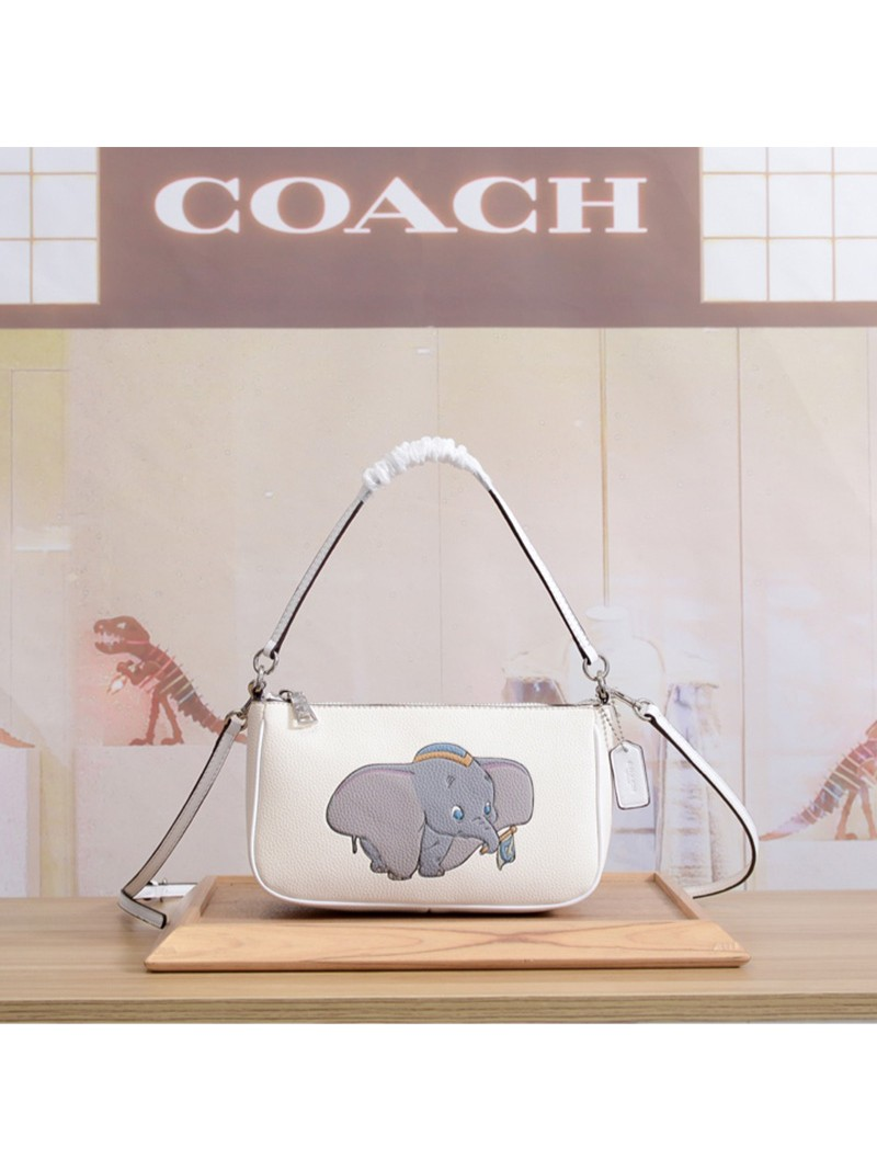 Disney x Coach Corssbody with Dumbo In Pebble Leather White