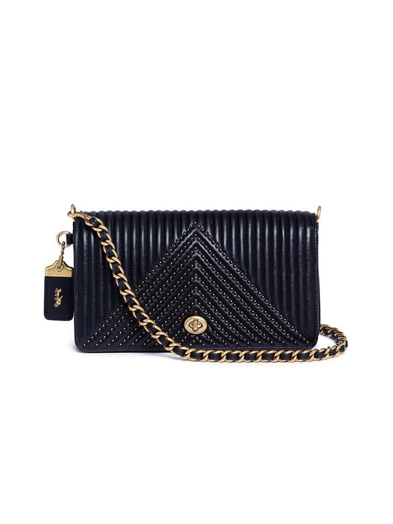 Coach Dinky Bag with Quilting and Rivets in Nappa Leather Black