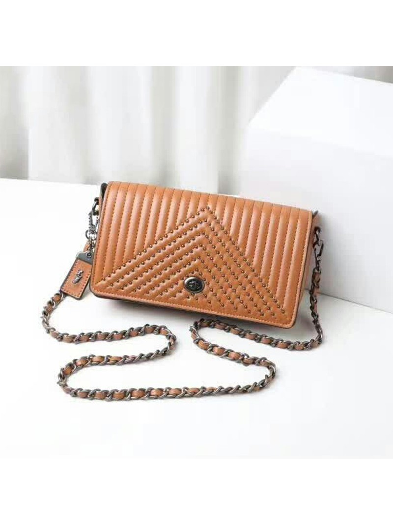 Coach Dinky Bag with Quilting and Rivets in Nappa Leather Brown