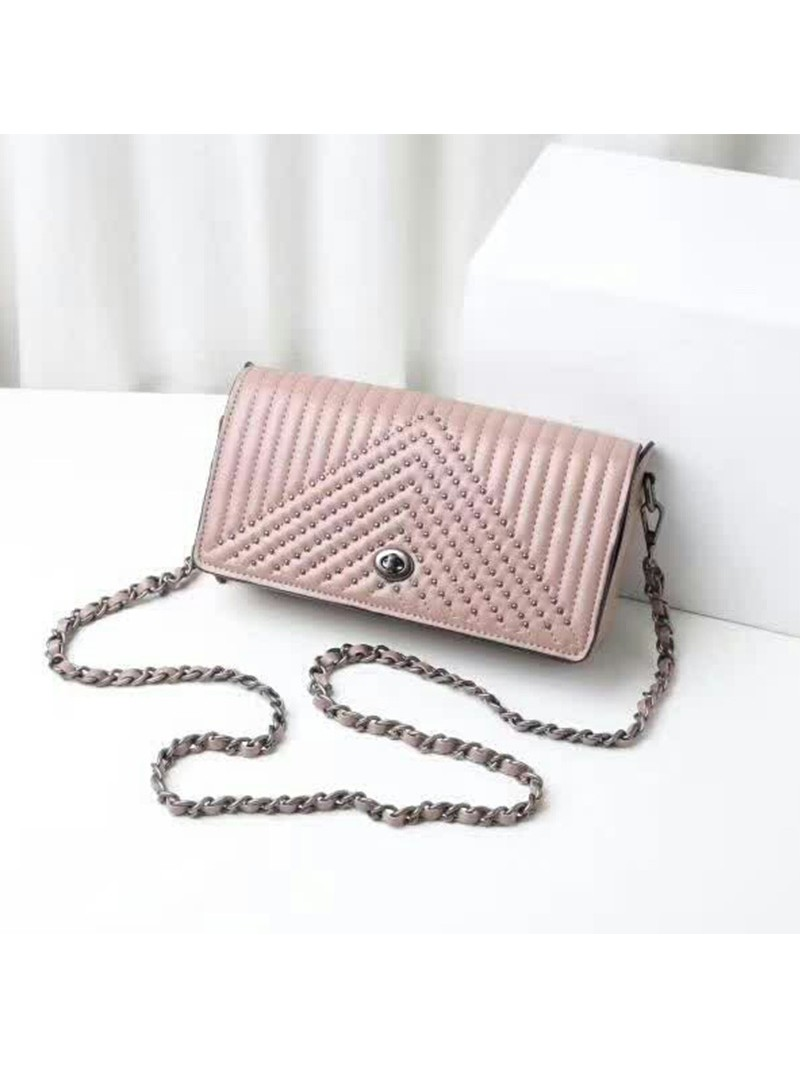 Coach Dinky Bag with Quilting and Rivets in Nappa Leather Pink