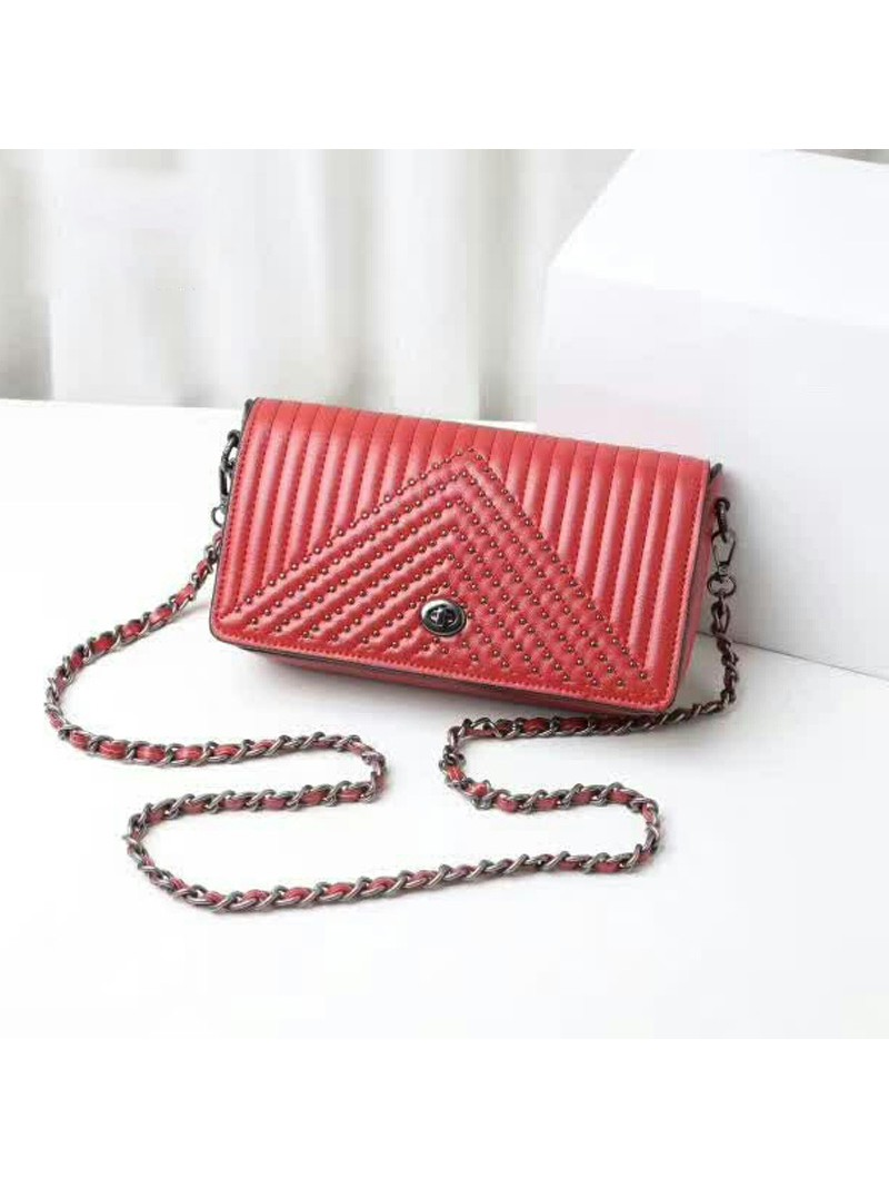 Coach Dinky Bag with Quilting and Rivets in Nappa Leather Red